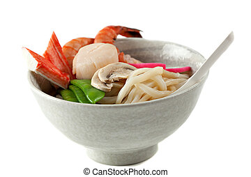 Seafood Udon Noodle Soup, Popular Japanese Dish, with...