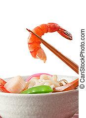 Seafood Udon Noodle Soup, Popular Japanese Dish, with shrimp...
