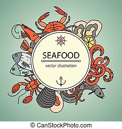 Seafood vector card with symbols of various delicacies. -...