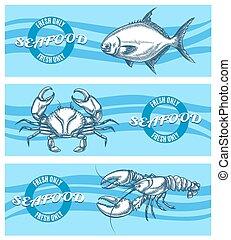 seafood, vector, set, banieren