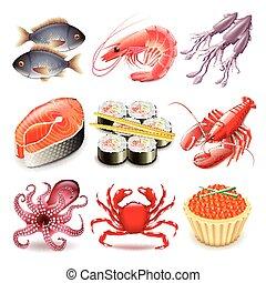 seafood, vector, set, iconen