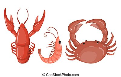 Seafood Vector Set Isolated On White Background
