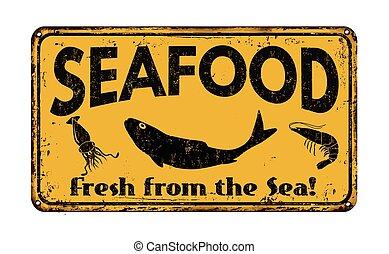 Seafood  vintage metal sign