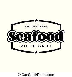 Seafood vintage sign black logo