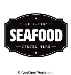 Seafood vintage sign logo
