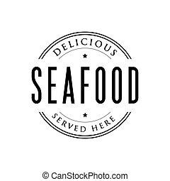 Seafood vintage stamp