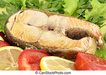 seafood with salmon and vegetables