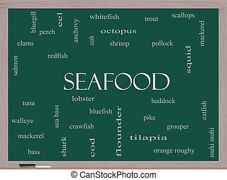 seafood, woord, wolk, concept, op, een, bord