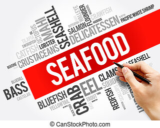 Seafood word cloud collage