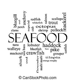 Seafood Word Cloud Concept in black and white