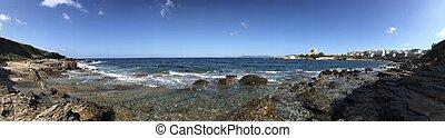 seafront at alghero, sardinia, italy