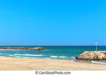 Seafront, beach, coast in Spain. Suburb of Barcelona, ...