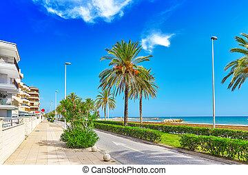 Seafront, beach,coast in Spain. Suburb of Barcelona,...