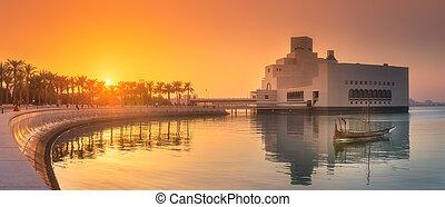seafront, islámico, doha, museo, parque, arte