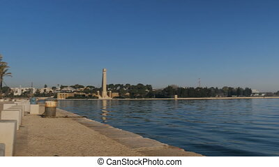 Seafront of Brindisi, with view of the entrance of the port...