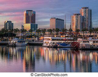 Port of Los Angeles - Seafront sunset at Long Beach, ...
