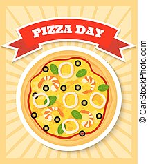 bright and colorful poster template for pizza day with image of seafruit pizza
