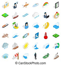 Seagoing icons set, isometric style - Seagoing icons set. ...