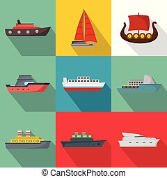 Seagoing vessel icons set, flat style - Seagoing vessel ...