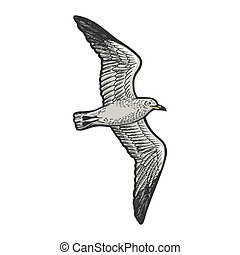 Seagull bird animal sketch engraving vector illustration. T-shirt apparel print design. Scratch board style imitation. Hand drawn image.