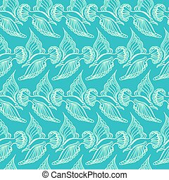 Seagull bird drawing. Summer sea seamless pattern