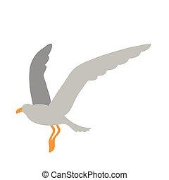 seagull bird flat style icon