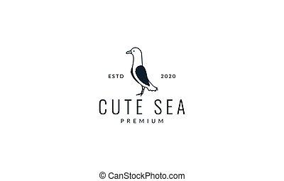 seagull bird stand line logo vector illustration design
