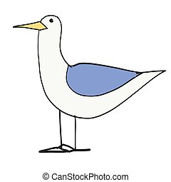 Seagull flat color illustration on white