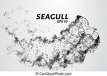Seagull of the particles. Seagull consists of small circles and dots. Vector illustration.