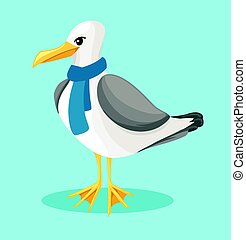 Seagull on a blue background in cartoon style sea, ocean bird in a scarf icon or button in flat style, isolated vector illustration