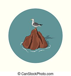 Seagull on a stone on a white background. An image of a gull...