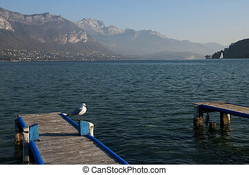 SeaGull on pontoon and view of lake annecy