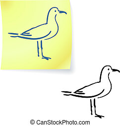seagull on post it notes original vector illustration 6 color versions included