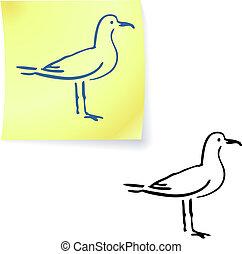 seagull on post it notes original vector illustration 6 ...