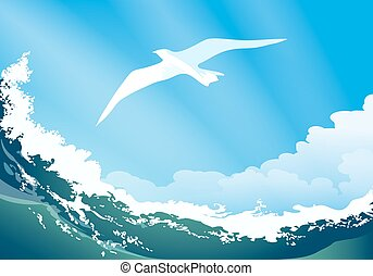 Seagull on the ocean wave