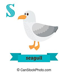 Seagull. S letter. Cute children animal alphabet in vector. Funny cartoon animals