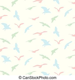 Seagull silhouette pattern background - Vector