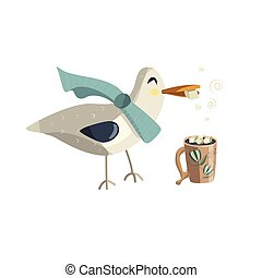 Seagull with cup of hot chocolate.