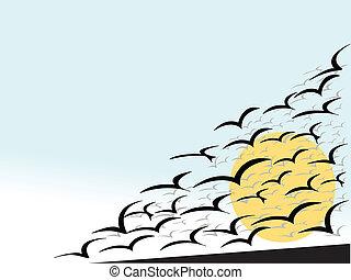 seagulls and risig sun - vector illustration abstract birds...