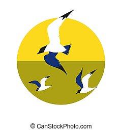 Seagulls flight icon