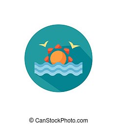 seagulls flying with sun sea animal block style icon