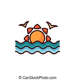 seagulls flying with sun sea animal line color style icon