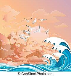Seagulls over ocean at dawn