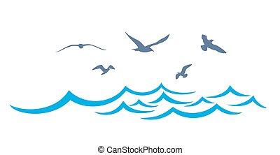 seagulls., tenger, táj
