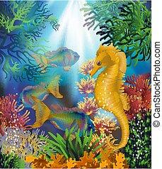 seahorse, イラスト, カード, ベクトル, 水中