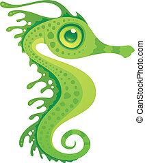 seahorse, ドラゴン, 葉が多い, 海