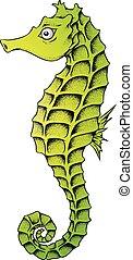 seahorse, 緑, 線画, イラスト