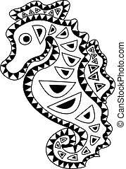 555f8390c Tribal arts. A pair of seahorse in tribal arts.