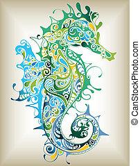 seahorse, abstratos