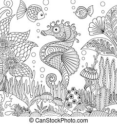 Seahorse and coral - Zendoodle design of seahorse swimming...
